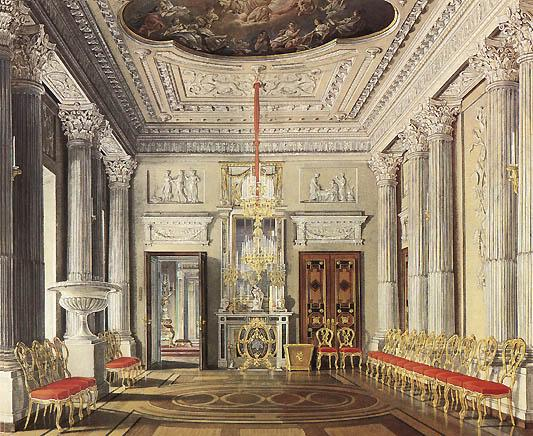 The Palace of Gatchina. The Marble Dining Room. Watercolor by E. Gau. 1880