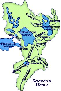 Water -collecting basin of the River Neva. Map- scheme