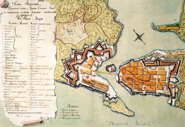 Plan of  fortifications of Vyborg  Town. The 18th cent.