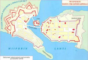 Plan of  fortifications of Vyborg  Town. The 18th cent. Preserved parts of  fortifications are marked with red color