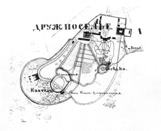 The country estate of  Druzhnoselye. Plan. The 1850s