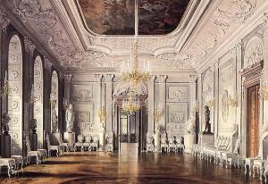 Gatchina Palace. White Hall. Watercolor painted by E. Gau. 1880