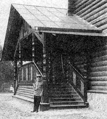 V.P. Alyshkov near the buiding of the Church of the Kazan Icon of the Mother of God in Vyritsa Town. Photograph of 1914