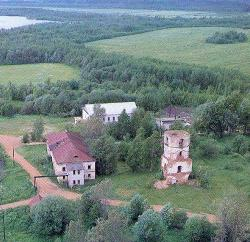 Bird's eye view of  the St .Antony Dymsky Monastery of the  Holy  Trinity.