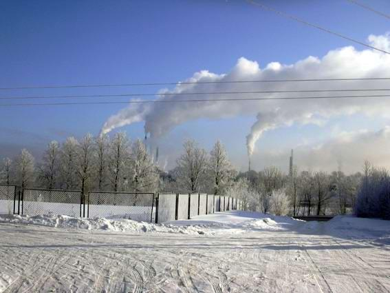 Chimneys are smoking ( The Volkhov hydroelectric power station)