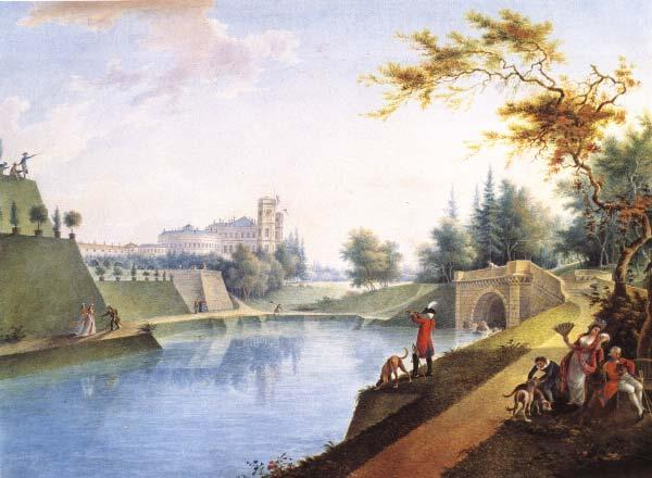 View of the Gatchina Palace from the Karpinsky Pond. G.S. Sergeyev. 1789