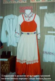 Exhibition of the Izhora people museum. Traditional Izhora woman costume