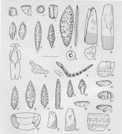 Working tools, ceramics and art objects dated from     the  Neolithic period of the Leningrad Oblast. 1-10 - tools made from stone and  slate  ; 11, 13 - 15 - 5 – decorations and art objects; 12, 16 – images of ducks on the clay vessels