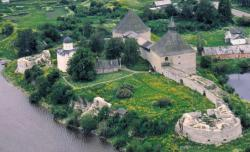 Bird's eye view of the Staraya Ladoga Fortress