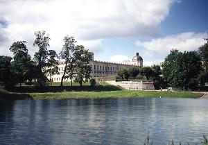 Gatchina Palace. View of the Arsenal building from the Karpin Pond