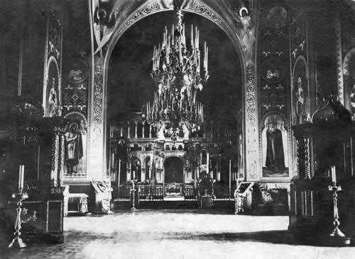 Interior  of the Church of the Nativity  of the Mother of God in Penino Village. Photograph of the early 20th cent.