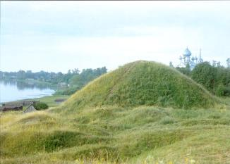 Burial mound on the bank of the River Volkhov  in Staraya Ladoga
