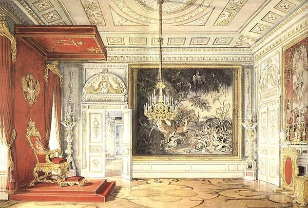 The Throne Hall. Watercolor  by E. Gau. 1878