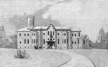 Palace in Gostilitsy. Lithography by A. Bremer. The middle of the 19th cent.