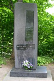 Monument at the garve of E. Sedergran in the urban village of Roshchino