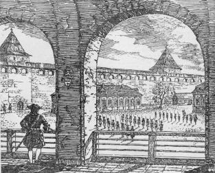 The Schlusselburg Fortress. View of the Fortress platz and the palace of   Peter I   from the gallery. Drawing by V.M. Savkov