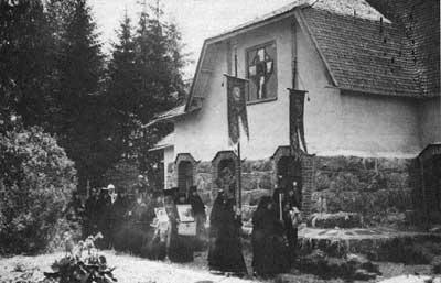 The Lintulsky  Monastery of the Holy Trinity. The religious procession. Photograph of the early 20th cent.