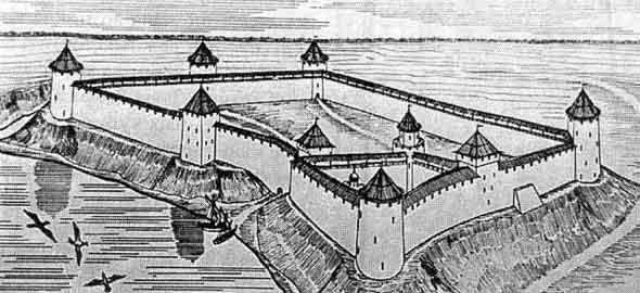 The Yamgorod Fortress. The reconstruction referring to the early 16th cent.
