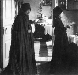 The Staraya Ladoga Convent  of the Dormition. Nun in cell. Photograph of  the 1900s