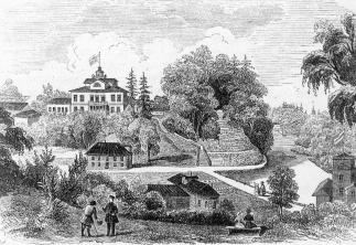 Lopukhinka  country  estate. From the engraving of L.A. Seryakov. 1847