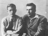 I.I. Sollertinsky (right) and D.D. Shostakovich. Photograph of 1942